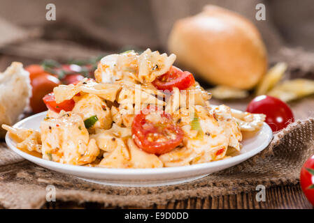 Homemade Pasta Salad with Farfalle, Feta Cheese and Cherry Tomatoes - Stock Photo