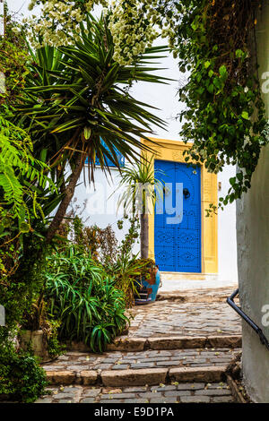 Steep, narrow, cobbled alleyway in Sidi Bou Said, Tunisia. - Stock Photo