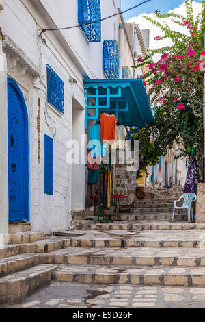 Steep,narrow alleyway in the Medina in Sousse,Tunisia. - Stock Photo