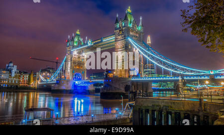 HDR Image of Tower Bridge by Night - Stock Photo