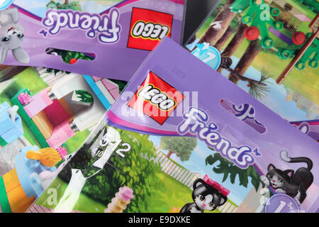 Tambov, Russian Federation - September 11, 2013: Background of LEGO Friends' packs. - Stock Photo