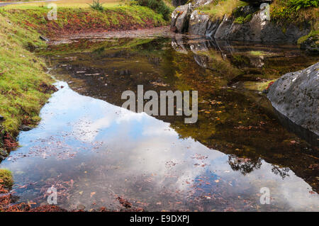 Mountain reflections in a Highland pool, Kinloch Hourn Lochaber Scotland. - Stock Photo