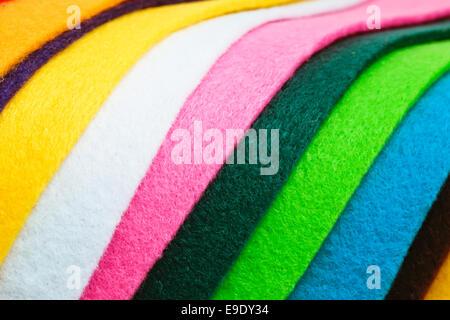 Selection of colorful felt sheets - Stock Photo