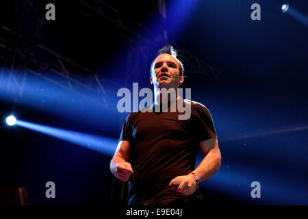 BARCELONA - MAY 29: Future Islands (synthpop band based in Baltimore, Maryland) performance at Heineken Primavera - Stock Photo