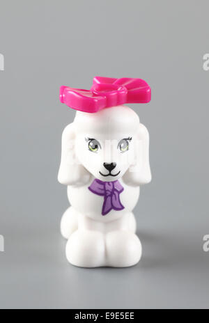 Tambov, Russian Federation - September 11, 2013 LEGO Friends Dog with pink bow from set 'Poodle's Little Palace'. - Stock Photo