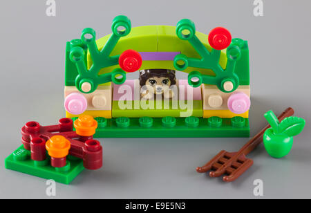 Tambov, Russian Federation - September 11, 2013 LEGO Friends set 'Hedgehog's Hideaway' on gray background. - Stock Photo