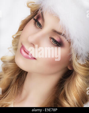 Pretty Dreamy Young Woman's Face - Stock Photo