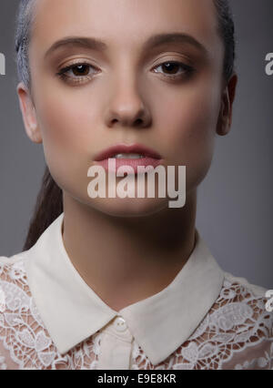 Elegance. Luxurious Charismatic Lady with White Lacy Collar - Stock Photo