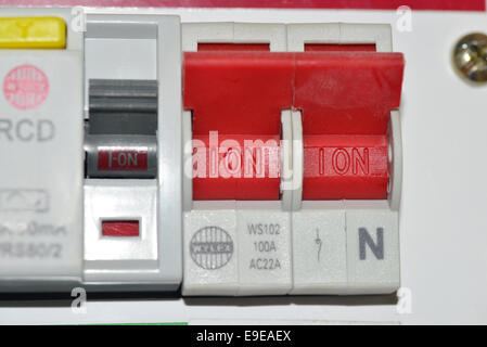 circuit breaker switches in a fusebox e9eaex power breaker residual current circuit breaker isolated on white rcd fuse box cost at edmiracle.co