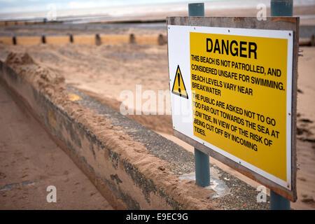Coastal Defence Wall on Rossall Promenade Thornton-Cleveleys, UK. - Stock Photo