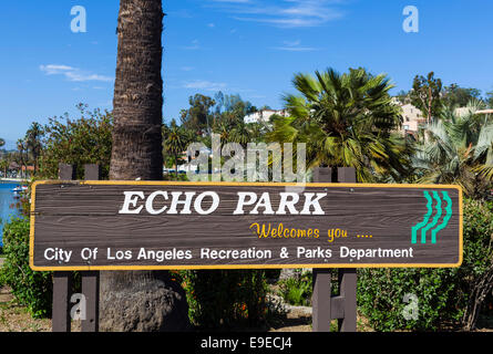 Sign at the entrance to Echo Park, Los Angeles, California, USA - Stock Photo