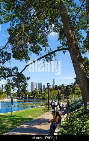 Echo Park with the downtown city skyline in the distance, Los Angeles, California, USA - Stock Photo