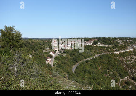 The hamlet of L'Hospitalet viewed from Rocamadour, Midi-Pyrenees, Lot. - Stock Photo
