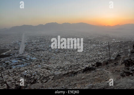 Evening view of Kabul in Afghanistan with sunset - Stock Photo