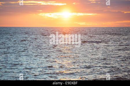 sunset over cardigan bay, aberystwyth - Stock Photo