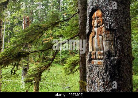 Tlingit trail marker carved in tree, Forest Loop Trail, Bartlett Cove, Glacier Bay National Park, Alaska, USA - Stock Photo