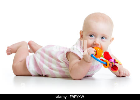 cute baby girl with teether toy - Stock Photo