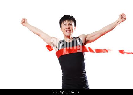 Male athlete running sprint - Stock Photo