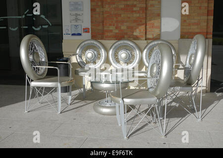 Terrace made out of wheels at Car, Automobile Museum of Málaga, Andalusia, Spain. - Stock Photo