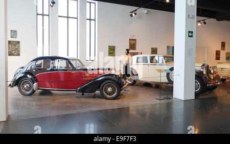 1936 Bugatti, 6 cylinde, and Vintage Rolls Royce Limousine Car, Automobile Museum of Málaga, Andalusia, Spain. - Stock Photo