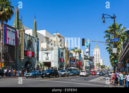 View down Hollywood Boulevard with TCL Chinese Theatre to left, Hollywood, Los Angeles, California, USA - Stock Photo