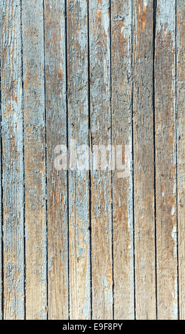 blue old painted wooden fence, naturally weathered - Stock Photo