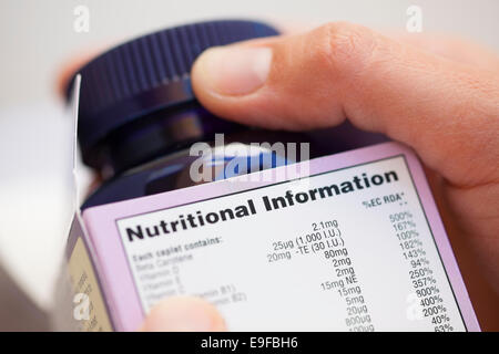 Human hand take out bottle with vitamin pills from the box with Nutritional information. - Stock Photo