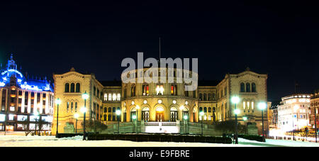 Stortinget at night - Stock Photo