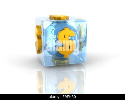 a blue earth sphere within glass cube with gold $ symbol on it.Elements of this image furnished by NASA - Stock Photo