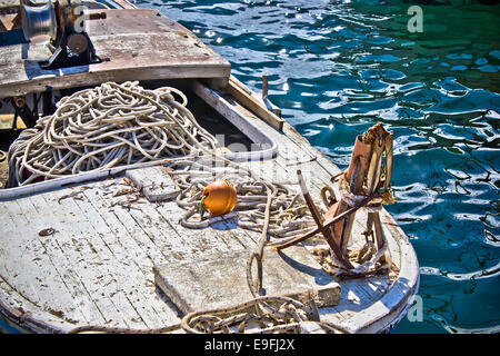 Old wooden fishing boat detail - Stock Photo