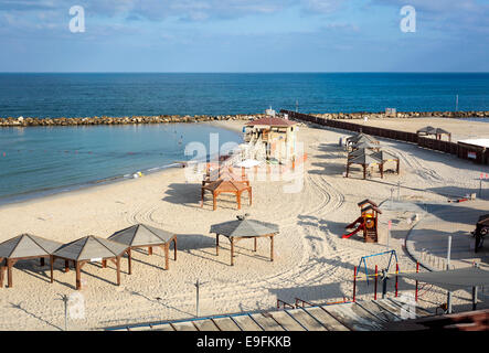Israel, Tel Aviv, The empty mediterranean beach front - Stock Photo