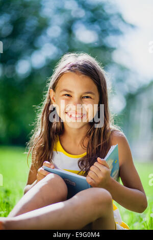 five-year-old girl on the nature - Stock Photo