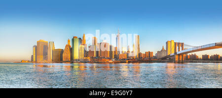New York City panorama early in the morning - Stock Photo