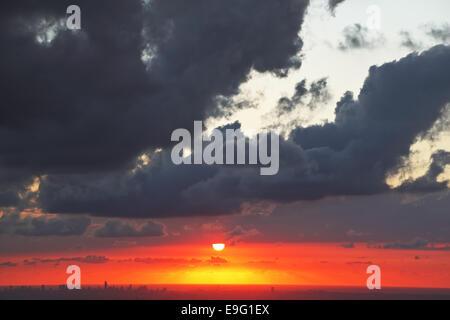 Fantastically beautiful sunset on  sea - Stock Photo