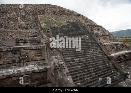 Temple of Quetzalcoatl,Teotihuacan,Mexico - Stock Photo