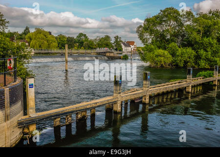 Hambleden Lock  on the river Thames with a weir and  Mill on the Berkshire Buckingham borders - Stock Photo