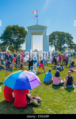 Climate Change Knows No Borders. International rally at Peace Arch U.S Canada border crossing. - Stock Photo