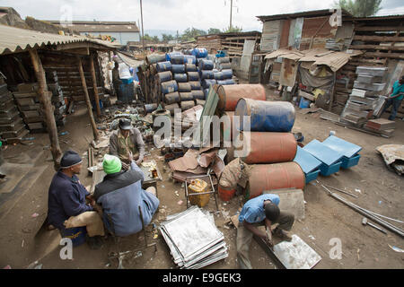 Scrap metal workshop in Arusha, Tanzania, East Africa. - Stock Photo