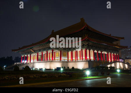 Side view of National Theater at the Chiang Kai-shek Memorial Hall Square at dusk in Taipei, Taiwan - Stock Photo