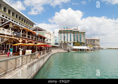 The modern Caudan Waterfront area, Port Louis, Mauritius - Stock Photo