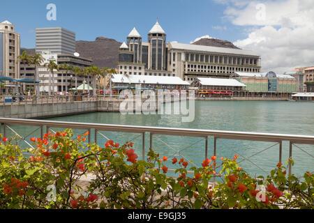 The modern Caudan Waterfront, Port Louis, Mauritius - Stock Photo
