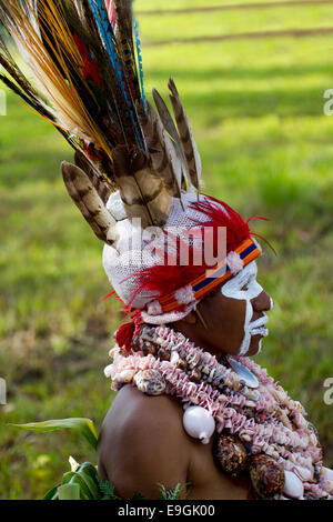 Building a Feather Headdress, Papua New Guinea - Stock Photo