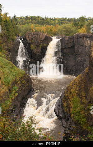 High Falls of the Pigeon River, Grand Portage State Park, Ontario, Canada - Stock Photo