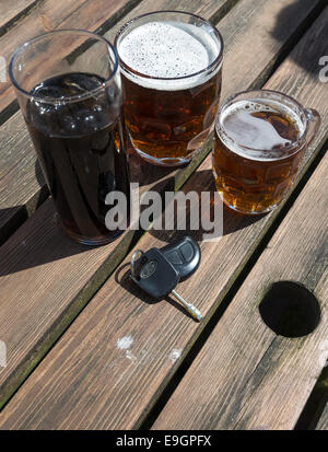 Car keys with a soft drink and pints of beer on a wooden beer garden table