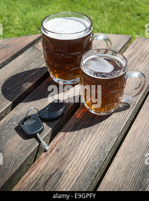 Car keys and pints of beer on a wooden beer garden table