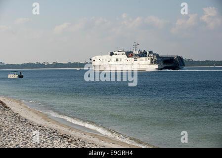 USNS Fall River Spearhead Class US Navy Ship underway Penscola Bay Florida USA - Stock Photo