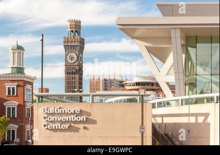 Baltimore Convention Center with downtown landmark buildings Camden Yards; Emerson Bromo-Seltzer Tower and Holiday - Stock Photo