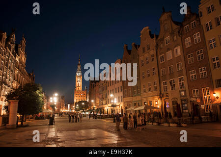 Houses on Long Market or Długi Targ and the clock tower of Main Town Hall, in the evening, Gdansk, Pomeranian Voivodeship - Stock Photo