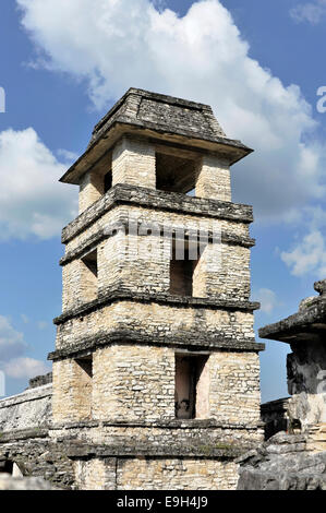 The Palace Observation Tower, pre-Columbian Maya archaeological site of Palenque, UNESCO World Cultural Heritage - Stock Photo