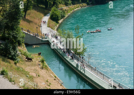 Bear pit of Bern Bear Park on the Aar River or Aare River, Bern, Canton of Bern, Switzerland - Stock Photo
